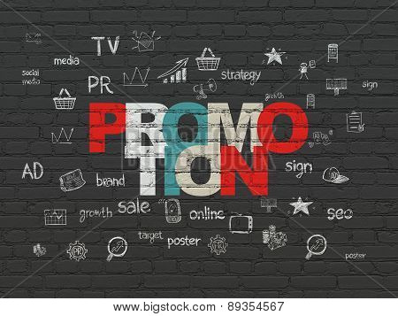 Advertising concept: Promotion on wall background