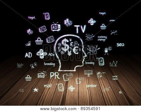 Marketing concept: Head With Finance Symbol in grunge dark room