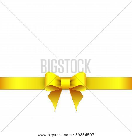 Gift Yellow Ribbon Bow Isolated On White