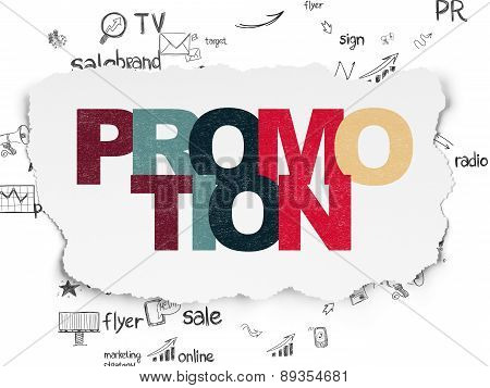 Advertising concept: Promotion on Torn Paper background