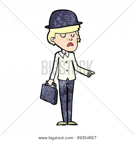 cartoon man with bowler hat