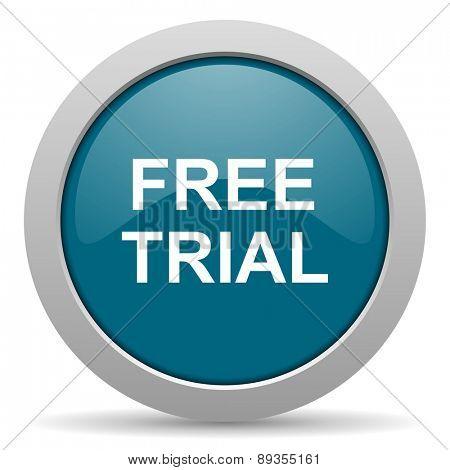 free trial blue glossy web icon