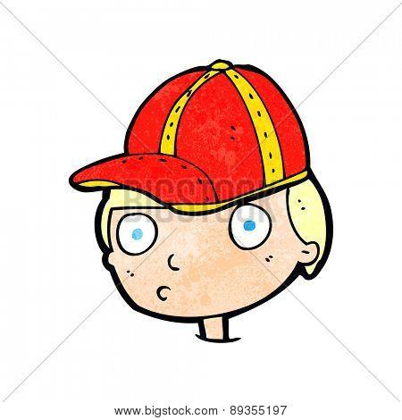 cartoon curious boy wearing cap