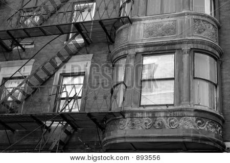 Ornate Rounded Bay Windows Black And White One