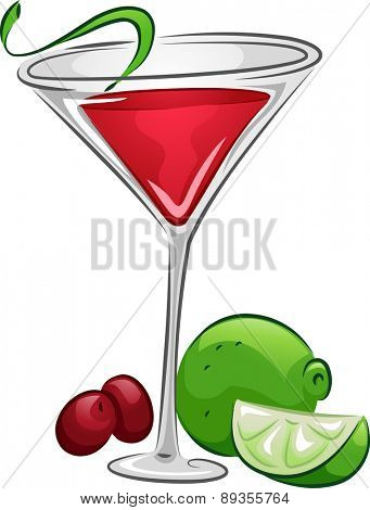 Illustration of a Cosmopolitan Drink with Lime and Cranberries