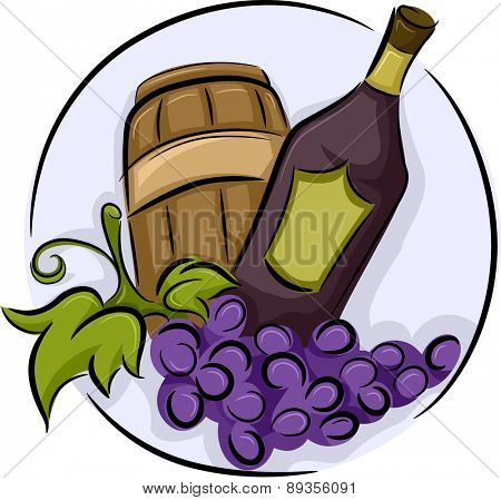 Illustration of a Wine Icon consisting of Grapes Wine Barrel and Bottle
