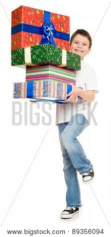 boy with gift boxes on white