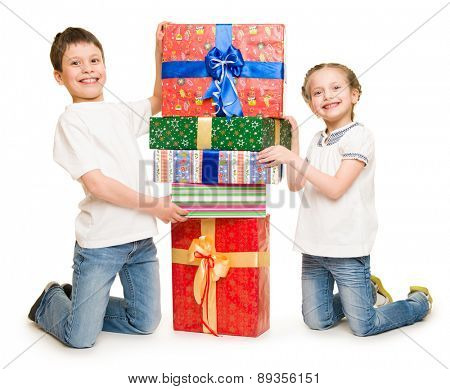 two child with gift boxes on white
