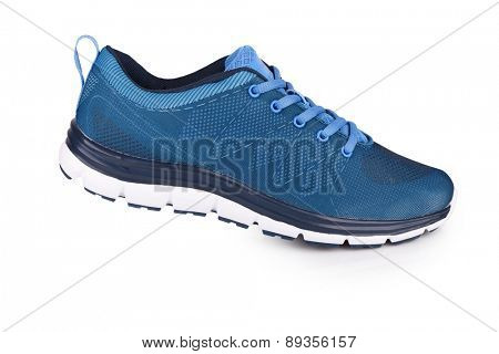 Blue sneaker isolated on white with shadow