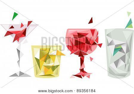 Illustration of Abstract Drinks Geometric Design