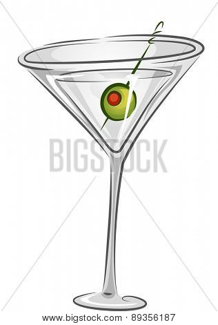 Illustration of a Martini Drink with Olive Garnish