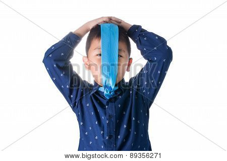 Asian Boy With Necktie On Face, Isolated On White Background