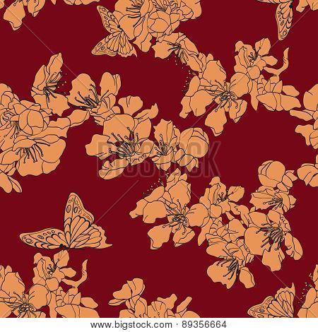 Seamless Background With Butterflies And Blossom Apricot On Maroon Background