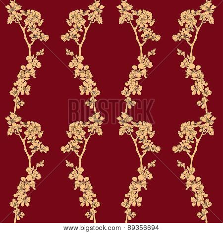 Seamless Background With Blossom Apricot On Maroon Background