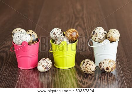 The Quail Eggs In A Tray On A Wooden Table