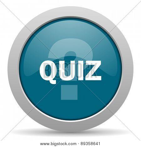 quiz blue glossy web icon