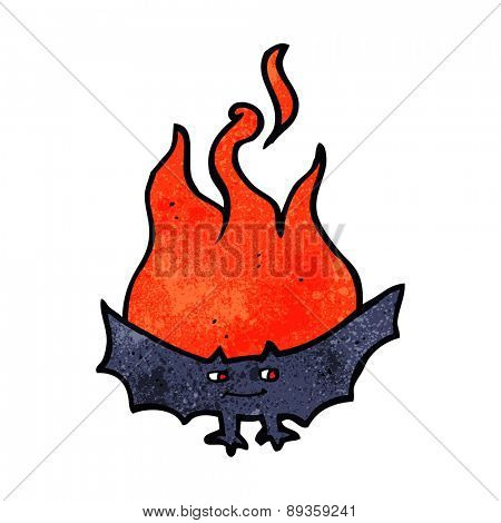 cartoon flaming halloween bat