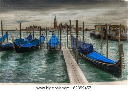 Venetian Gondolas On The Water Oil On Canvas