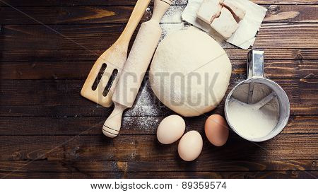 Dough On Wooden Background