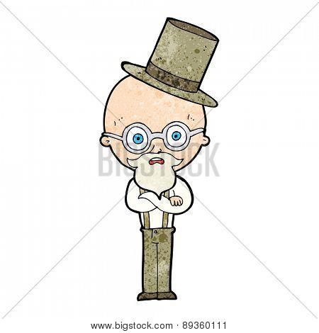 cartoon old man wearing top hat