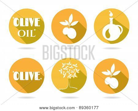 Set, group, collection of six orange, retro, isolated, round icons, labels, stickers with text Olive