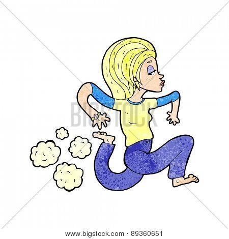 cartoon woman running barefoot