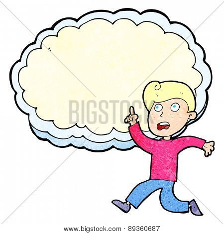 cartoon running boy in front of idea cloud with space for text