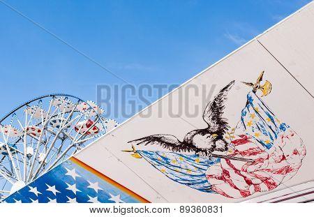 Symbols Of The Usa Flag And Ferris Wheel