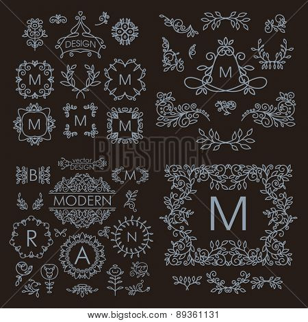 Vintage vector set of line design elements for logos, frames and borders in modern style