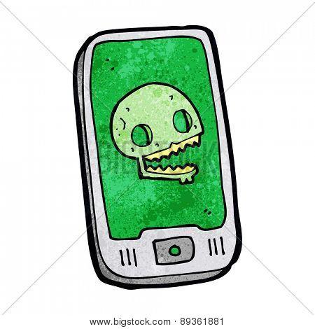 cartoon mobile phone with virus