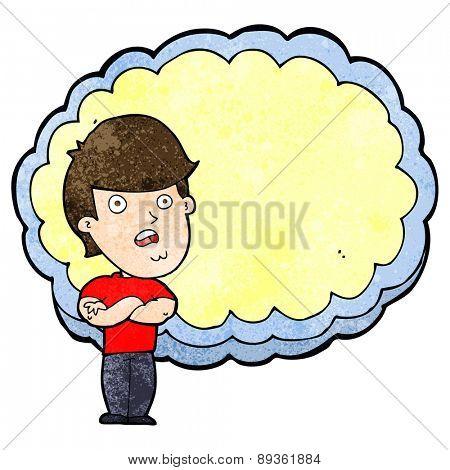 cartoon man with text space cloud