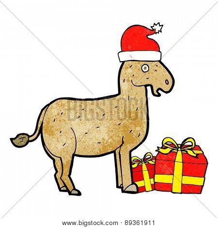 cartoon christmas donkey