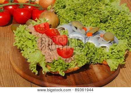 Two Fish Rolls With Tuna And Sour Herring