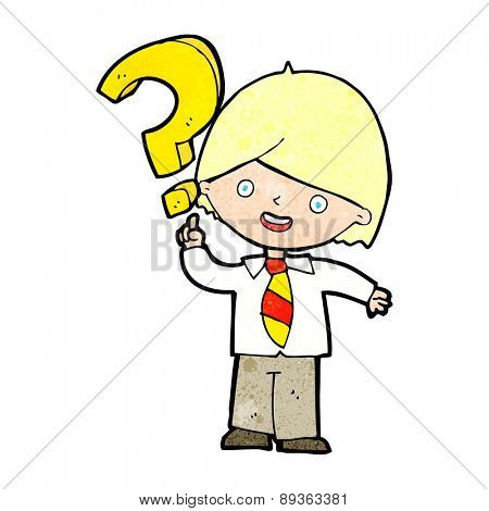 cartoon boy with question