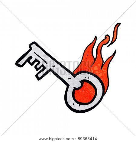 cartoon flaming key