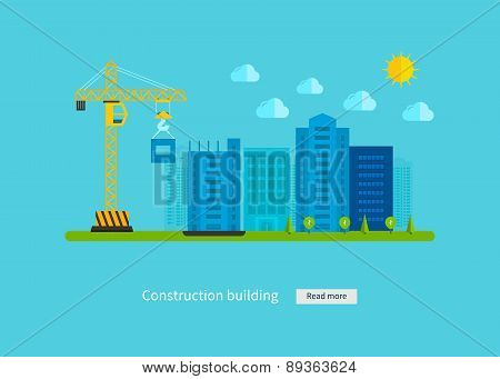 Flat design vector concept illustration with icons of building construction and urban landscape.