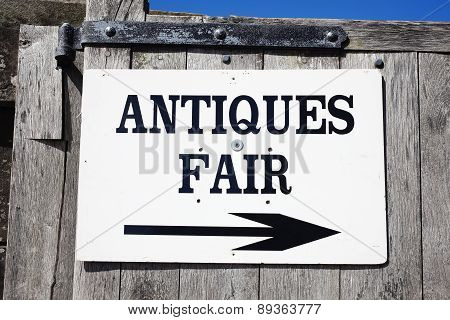 Antique fair sign
