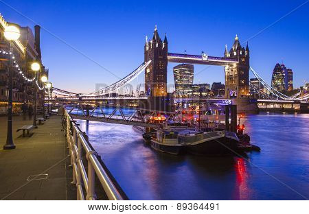 Dusk-time View Of Tower Bridge In London