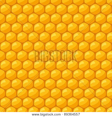 Seamless pattern with bee honeycombs and honey