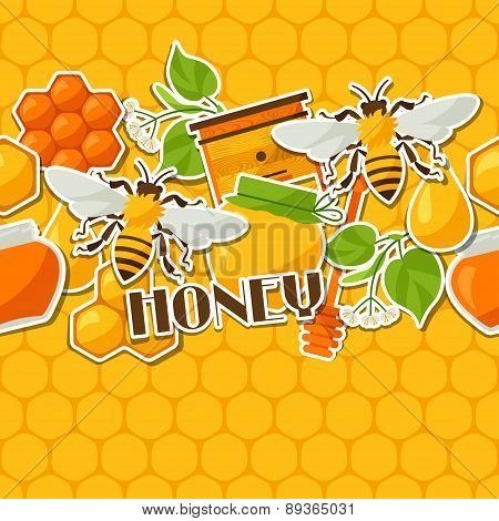 Seamless pattern with honey and bee stickers