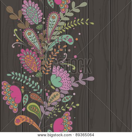 Hand-drawn Doodle Floral Pattern, Abstract Leaves And Flowers On Black Wooden Texture Background. Ve