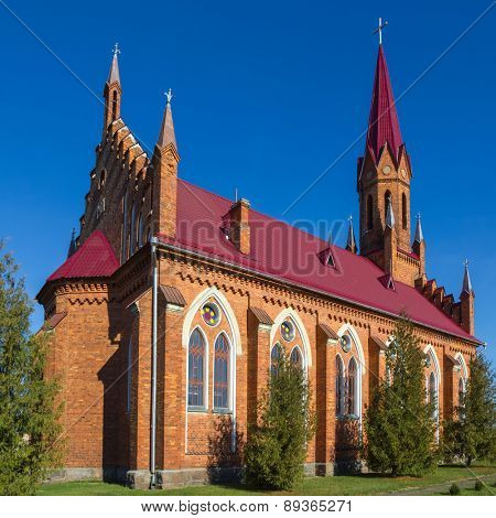 Catholic Church in Stolovichi (Stolowiczy), Belarus in Gothic Revival style.