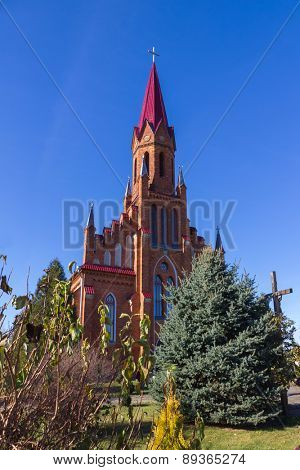 Catholic Church  in Gothic Revival style in Stolovichi (Stolowiczy), Belarus.