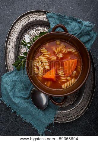 Fresh Tomato Soup In Stoneware Bowl