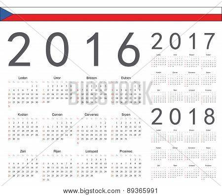 Set Of Czech 2016, 2017, 2018 Year Vector Calendars