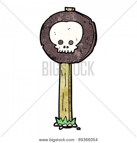 cartoon spooky skull signpost