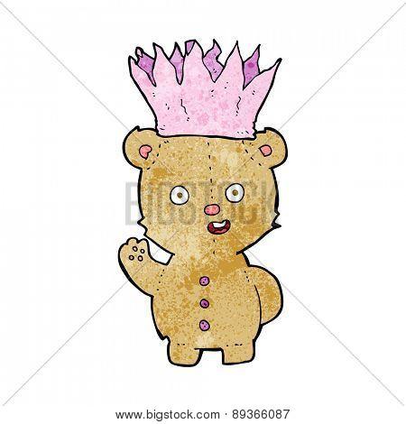 cartoon teddy bear wearing paper crown