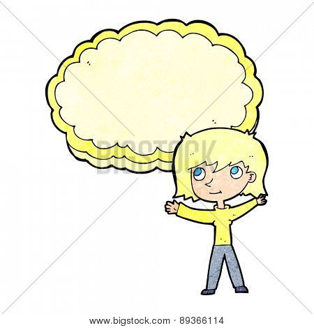 cartoon woman with text cloud space