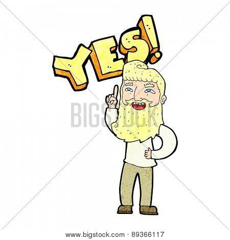 cartoon man shouting YES
