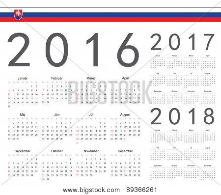 Set Of Slovak 2016, 2017, 2018 Year Vector Calendars